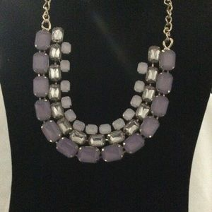 INC Triple Row of Lavender & Clear Stone Necklace